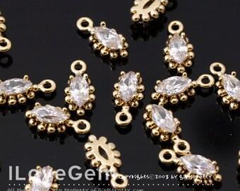 NP-1615 Gold Plated, mini Marquise, CZ, Dangle, 4pcs