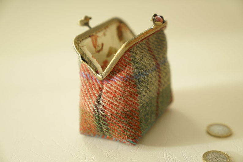 NEW Bronze metal frame coin pursered pearls Check green red Harris tweed Liberty tana lawn