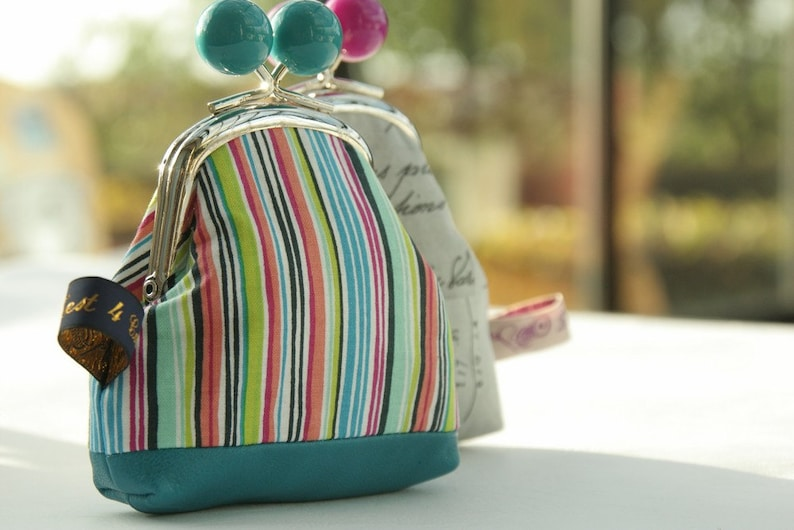Turquoise bobble silver metal frame coin purse multicolor stripes leather base