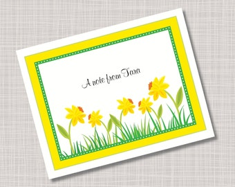 Custom Daffodil Spring Flower Note Cards