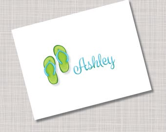 Custom Turquoise Blue & Green Flip Flop Name Note Cards
