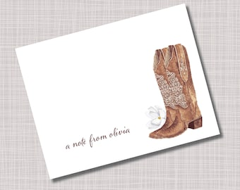 Custom Personalized Western Cowboy Boots Flower Note Cards & Envelopes