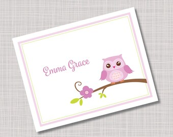 Custom Purple Owl & Flower Note Cards