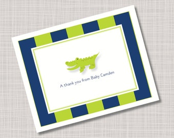 Custom Baby Alligator Thank You Name Note Cards