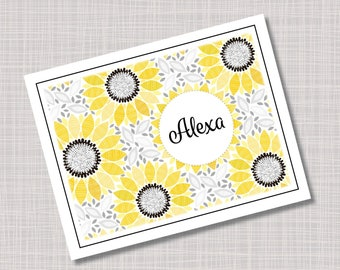 Custom Yellow & Black Mod Daisy Flower Note Cards
