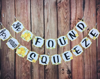 b568818ca3 Lemon Bridal Shower Banner Garland Bride to Be She found her main Squeeze