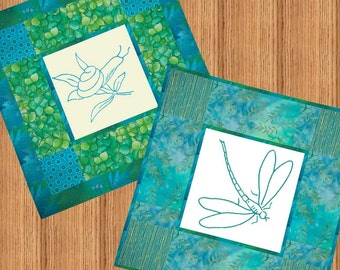 DRAGONFLY & SNAIL DUO - Embroidery E-Pattern Printable Download Pdf Diy Free Shipping Teal Blue Green Dragonfly Snail Aqua Turquoise Insect