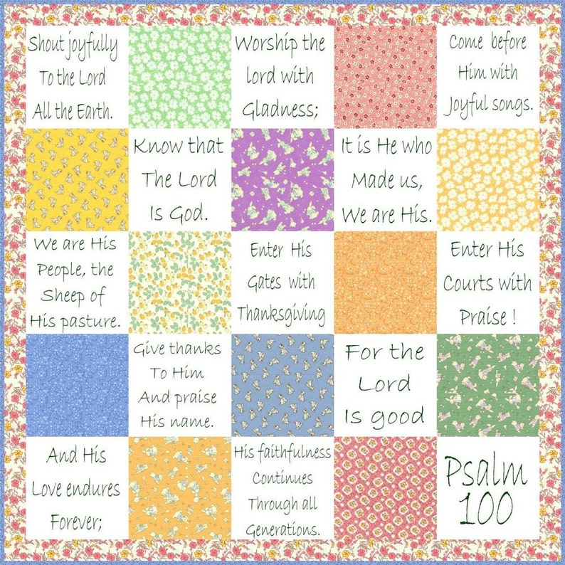 SHOUT JOYFULLY  Hand Embroidery E-Pattern Psalm 100 Quilt image 0