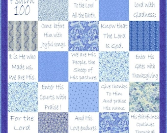 SHOUT JOYFULLY - Hand Embroidery E-Pattern Psalm 100 Quilt Printable Download Pdf DIY Blue-work Free Shipping Seaside Blue White Shabby Chic