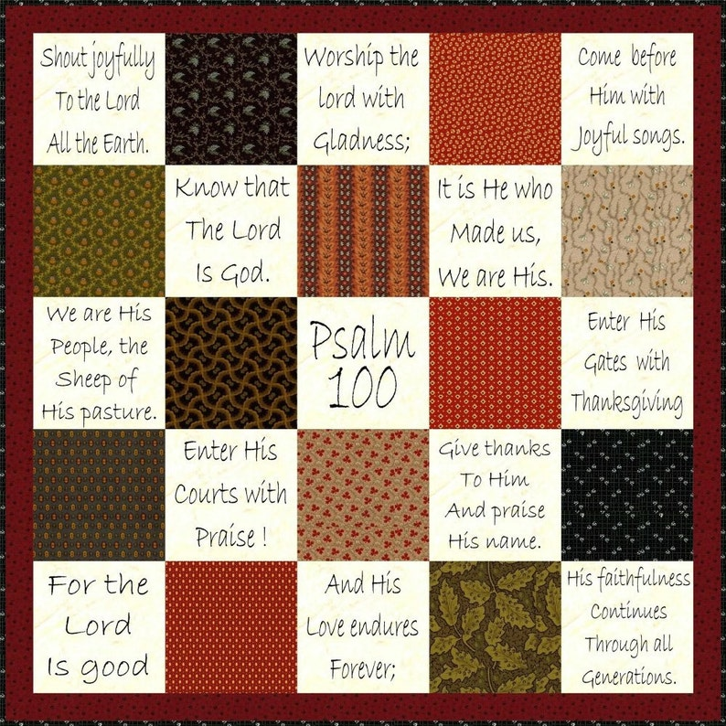 SHOUT JOYFULLY  Hand Embroidery E-Pattern Psalm 100 Quilt image 0