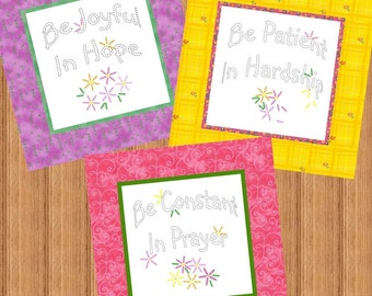 BE JOYFUL --- Hand Embroidery E-Pattern Printable Download Pdf Diy Simple Free Shipping Easy to Do Pink Yellow Purple Green Bright Colors