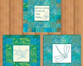 GOD Is LOVING Trio -- Hand Embroidery E-Pattern Printable Download Pdf Diy Free Shipping Teal Blue Green Dragonfly Snail Butterfly Turquoise