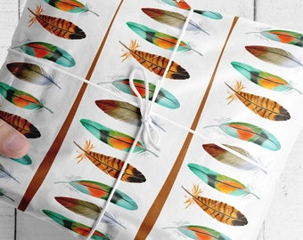 Feathers and Lines Wrapping paper, nature gift wrap with watercolour art, boho bird feather paper wrapping presents, birthday, fathers day