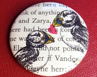 PuffinLove pinback button or magnet Valentine gift vintage book page heart pin Valentine's Day Gift heart fridge magnet Cape Breton Puffin