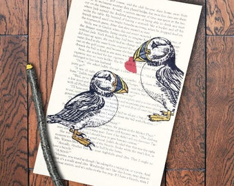 """Puffin Lovers book page heart Valentine gift puffin bird print on book page 6x9"""" Valentine's Day Gift puffin lover gift Cape Breton Puffins"""