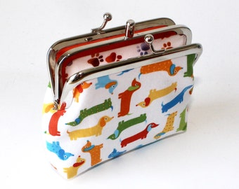 2 Compartment Coin Purse. Two Compartment Coin Purse. Double Frame Coin Purse in Colorful Dachshunds, Doxies, Wiener Dogs