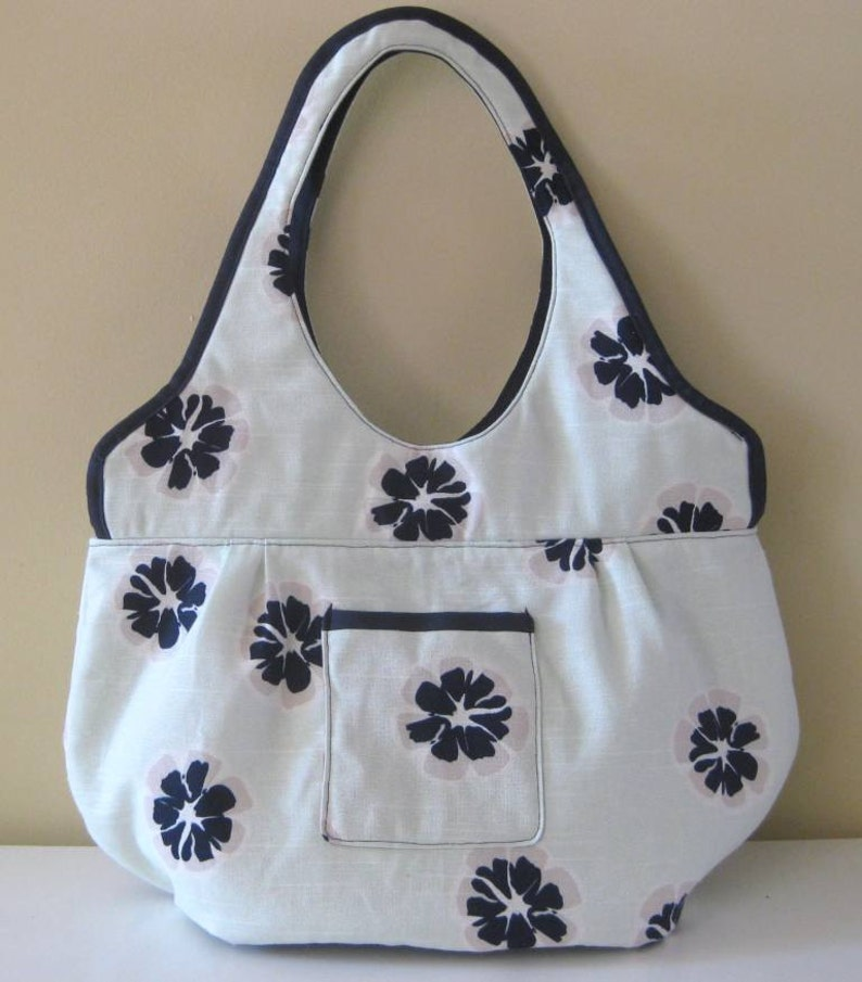 Large Beach Bag Large Shoulder Bag in Light Mint Green with Navy Blue Flowers Large Tote Bag Large Book Bag