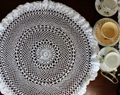 Table Topper, or Small Tablecloth, Hand Crocheted in White, Fluted Edge 12206