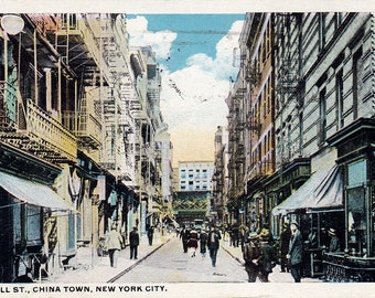 Antique Postcards, Pell St, China Town New York, 1921, City Buildings Post Card 154