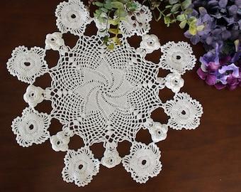 13 Inch Raised Flower Design, Crochet Doily or Centerpiece, Unique Hand Crocheted - 16647
