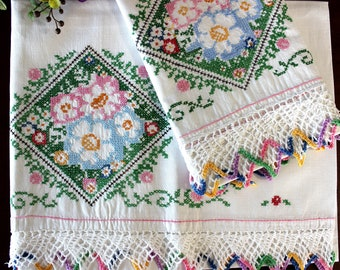 Embroidered Pillowcases, Cross Stitched Windows, Pillow Case Set, White Cotton, Crocheted Multicolored Edging 16453