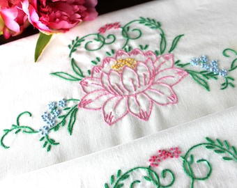 Embroidered Pillowcases, Vintage Pillow Case Pair, White Cotton Blend,  Pink Lilies 16845