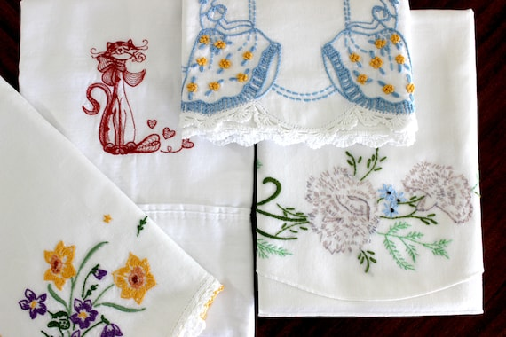 Vintage pillow cases, a pair with