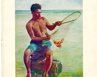 Original 1925 Color Print, A Shrimp A Shrimp Fisherman, Hawaiian Islands 104