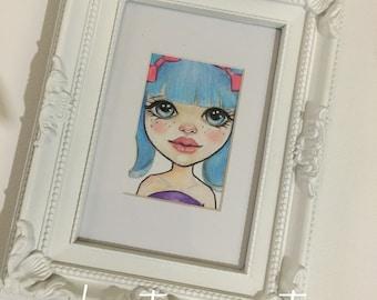 Blue Haired Blythe doll illustration, Original Art, Blythe Art, Kim Turner Art, Framed Art
