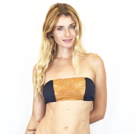 4557c0be416e1 Larkspur Zelda Organic Cotton Bandeau Bra Navy Tobacco