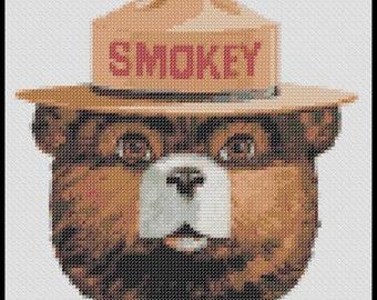 Smokey the Bear Cross Stitch Pattern