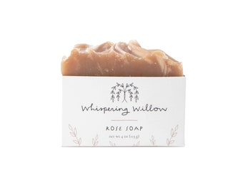 Rose Bar Soap - Handmade with Essential Oil, Vegan Soap - Perfect Gift for Her