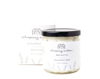 Eucalyptus and Mint Natural Body Butter - Handcrafted with organic oils & essential oils