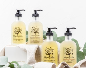 Natural Liquid Soap in a Glass Pump - Made with Organic Essential Oils - Lavender, Lemongrass, Peppermint, Tea Tree or Rose - 8 oz