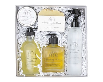 Peppermint Mindful Moments Gift Box - Body Oil, Linen Spray, Hand Soap, Bar Soap, Salve - The Perfect Gift! (Seasonal)