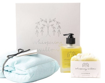 Lavender Rest & Renew Gift Box - Body Oil, Bar Soap, Neck Wrap - Care Package