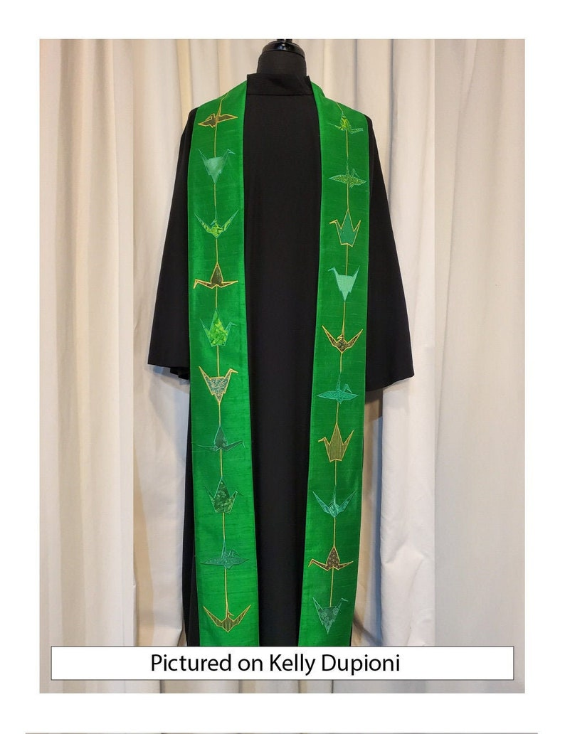 Contemporary Green Origami Crane Clergy Stole
