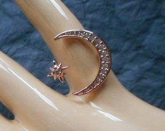 Moon and Star Adjustable Ring, Rose Gold and Silver