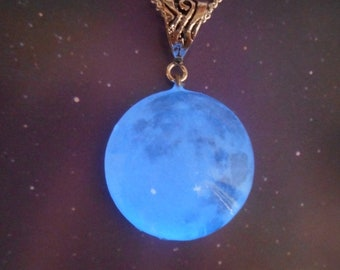 Glow-in-the-Dark Jewelry, Blue Moon Glow-in-the-Dark Necklace Glowing Moon Silver or Soft Black Cord - 8 hour glow!