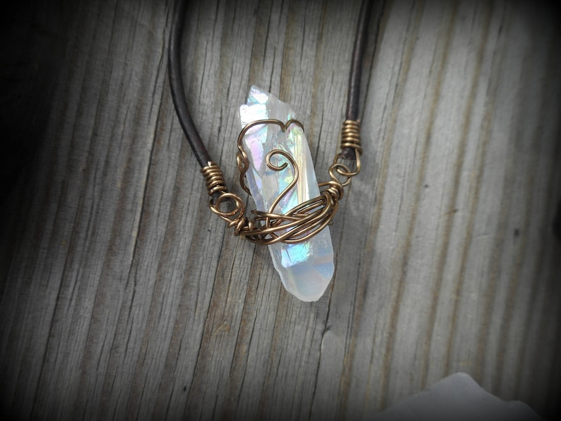Clear Raw Crystal Pendant Angel Aura Wire Wrapped Crystal Quartz Necklace Bohemian Rustic