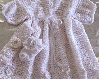 Free Shipping Wedding Gown Handmade Crochet Baby Girl White Tutu Dress /Headband / Socks 3 Piece Set