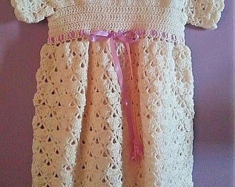 Free Shipping Wedding Gown Handmade Crochet Antique White Baby Girls Dress/Headband/Socks 3 Piece Set