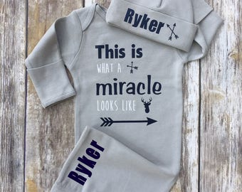 Baby Boy Coming Home Outfit, This is What a Miracle Looks Like Baby Boy Outfit,  Personalized Baby Boy Outfit, Coming Home Gown Hat Set