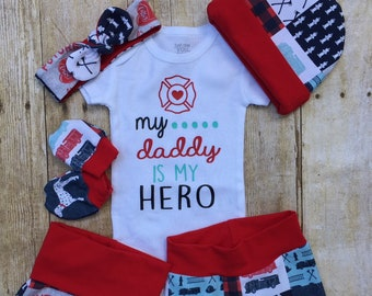 ab6767dfa79 Daddy Firefighter Baby Girl Coming Home Outfit