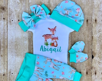 72d1331c6 Mint fawn fox Girl's Infant Outfit, Personalized Coming Home Baby Girl  Outfit, Take Home Newborn Outfit, Girl Layette and Bow Set, Shower