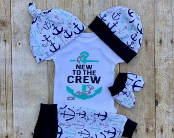 eab62d0e7 New to the Crew Boys Coming Home Outfit, Anchor Baby Boy Outfit, Take Home  Newborn Outfit, Navy, White, Aqua, Baby Shower Gift Boy, Nautical