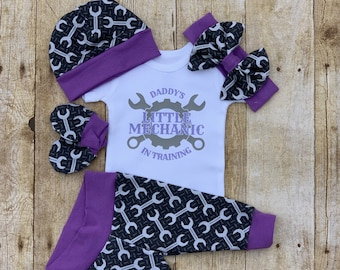 5b1b30874 Daddy's Little Girl Mechanic Infant Outfit, Coming Home Baby Girl Outfit,  Take Home Newborn Outfit, Girl Layette and Bow Set, Tool Handyman
