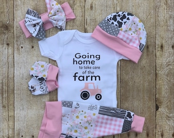 8214ef766 Girls Farm Coming Home Outfit, Going Home to Take Care Farm Baby Set, Cow  Custom Newborn , Baby Shower Gift, Farm Country Girl Layette
