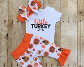 Girl Thanksgiving Outfit, Little Turkey Girls Baby Set, Newborn Infant Outfit,  Baby Shower Gift, Baby Girl Orange Ruffle Outfit
