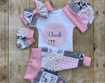 ae027df5 Girls Farm Coming Home Outfit, Personalized Girls Baby Set, Cow Custom  Newborn Hospital, Baby Shower Gift, Farm Country Girl Layette